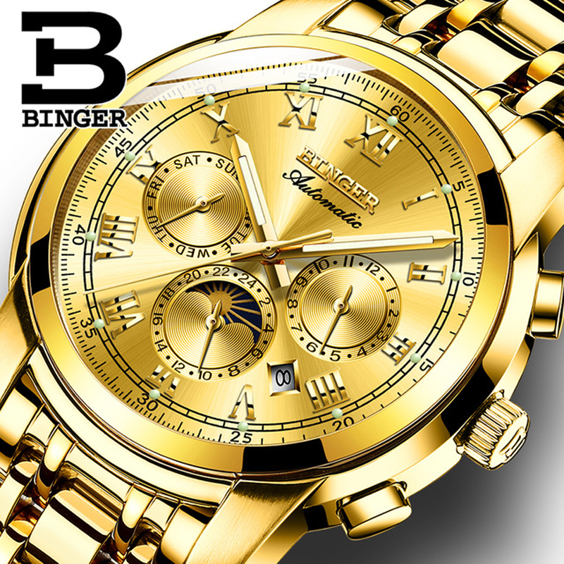 Switzerland BINGER Brand Automatic Mechanical Watch Men Luxury Gold Watches Sapphire Wristwatches Waterproof Luminous relogio switzerland watches men brand oyalie luxury simple rose gold wristwatches tourbillon sapphire mirror automatic mechanical watch