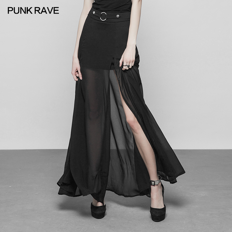 Punk Rave Fashion Casual Sexy Dance Chiffon Slit Transparent Lace Black High Waist Women Skirt Gothic