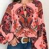 S-5XL Women Bohemian Clothing Blouse Shirt Vintage Floral Print Tops Ladies Blouses Blusa Feminina Plus size 4