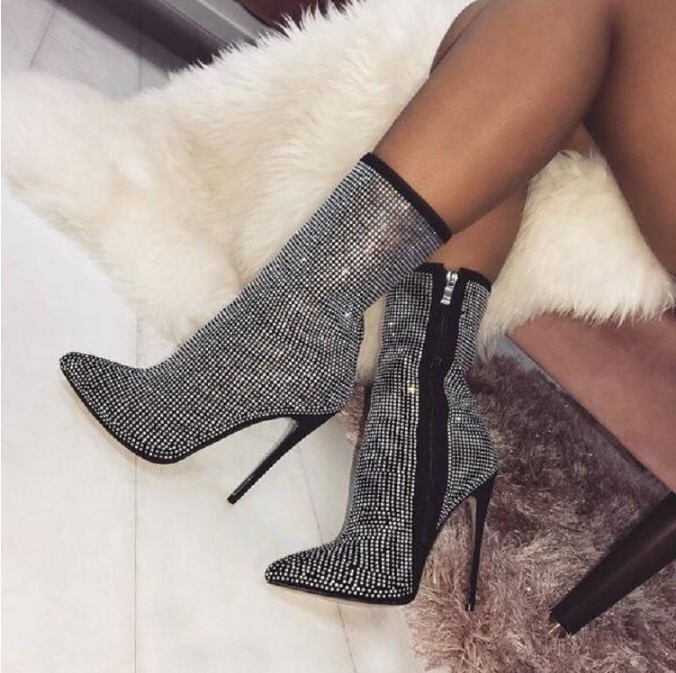 Sexy Bling Crystal Womens Boots Ankle Pointed Toe Thin Heels Women Zipper Rhinestone High