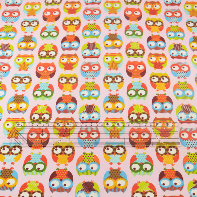 Pink Owl Cotton Fabric Tissue Home Textile Patchwork Sewing Cloth Craft Teramila Fabrics Tecido Quilting Bedding Sets Decoration