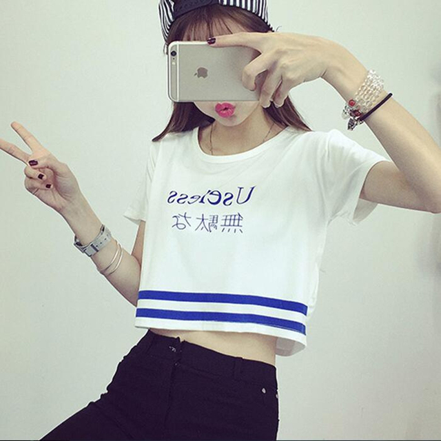 Japanese Letter Printed Fashion Crop Top Short-sleeved T shirt Women Chic Sexy Ladies T shirts 2018 Summer Harajuku Girls Tee 2