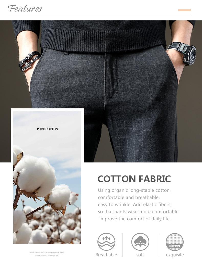 HTB1V8CAKeuSBuNjSsziq6zq8pXaC jantour Brand Pants Men Casual Elastic Long Trousers Male Cotton lattice straight gray Work Pant men's autumn Large size 28-38