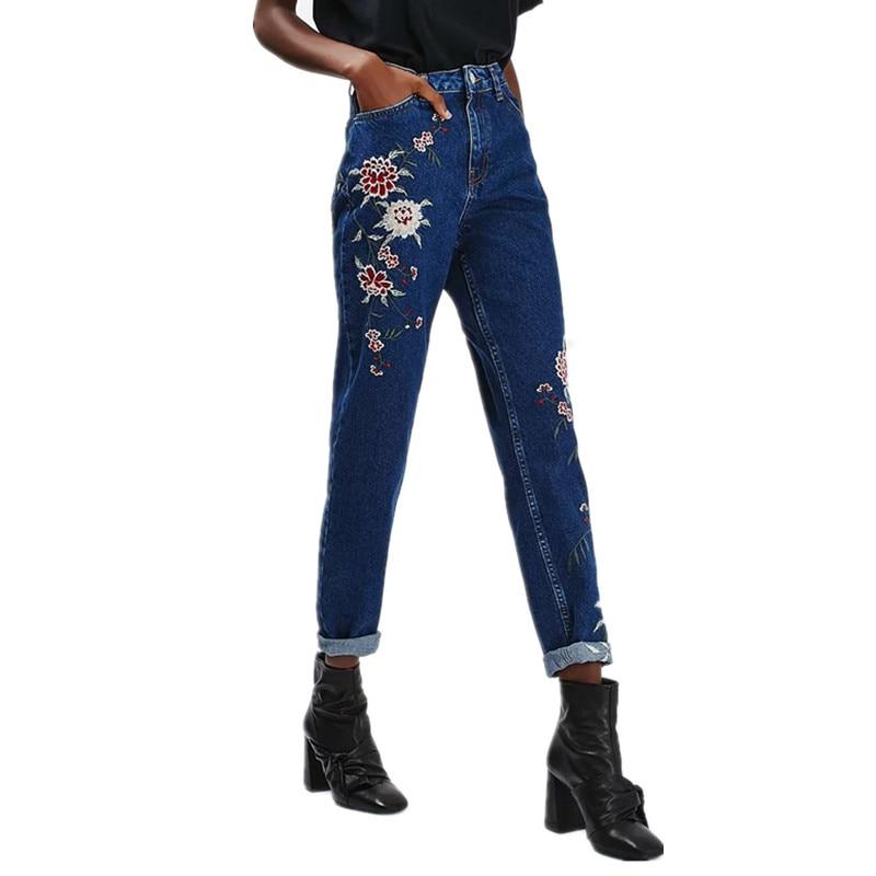 New european skinny jeans woman high waist flower