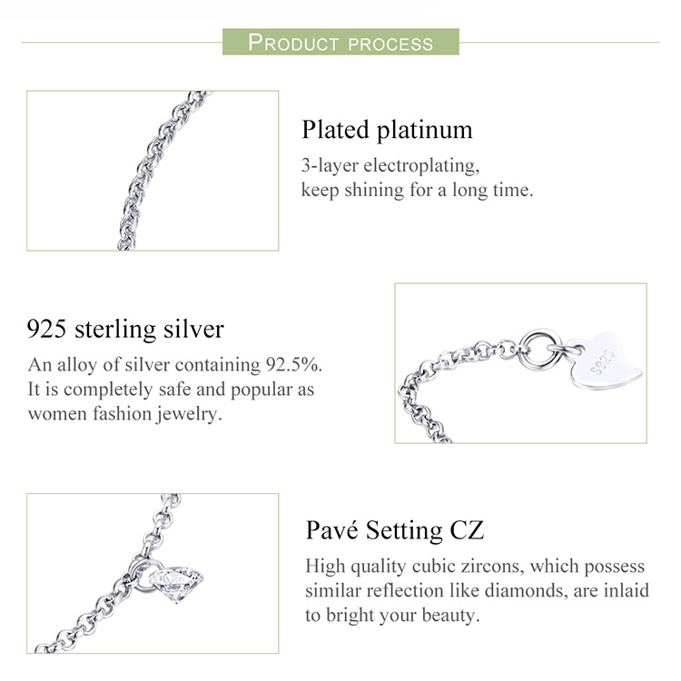 HTB1V8CKKr1YBuNjSszeq6yblFXa1 BAMOER 925 Sterling Silver Simple Geometric Crystal CZ Link Chain Bracelets & Bangles for Women Authentic Silver Jewelry SCB103