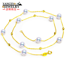 YANCEY  Hot+ Stars round pearls, bright luster, fashion elegant Akoya pearl necklace lady, 18k gold, clavicle chain