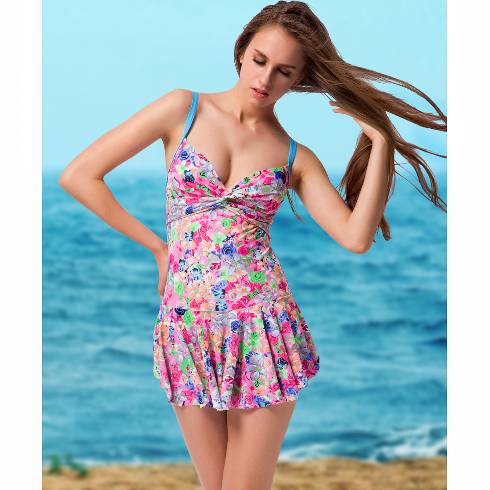 VILEAD New Sexy Small Floral Skirt One-piece Swimsuit Stereo Sunscreen Flounced Swimsuit Bikini Skirt Bikini Suit  Pink front slit floral skirt one piece swimsuit