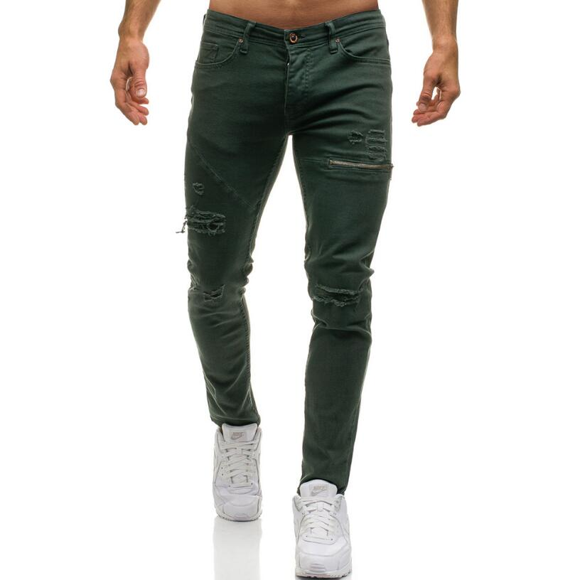 2019 Fashion Streetwear Men's High-grade Pure Cotton Jeans Vintage Skinny Destroyed Ripped Tight Jeans Broken Punk Pants