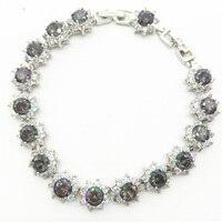 Luxury Sparkling Flower Bracelets Bangles For Women Rainbow Mystic White Topaz Silver Bracelet Wholesale Retail