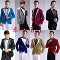 2015 Nuevo Macho Master de Oro Lurex Vestidos Trajes de la Etapa de Los Hombres traje Ropa del Anfitrión MC Cantante Trajes Chaqueta Espectáculo Chaqueta prendas de Vestir Exteriores D199