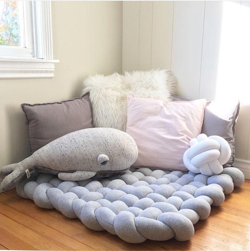 Wonder Space Knot Plush Baby Sleeping Mat Soft Cotton Square Braided Nursery Rug Fashion Room Decor