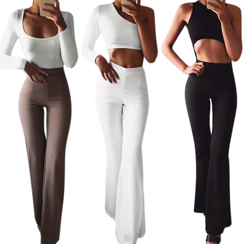 Black White Womens Flare Pants 2019 Women's High Waist Hippie Pants Bell Bottom Sweatpants Sportswear Fitness Trousers For Women