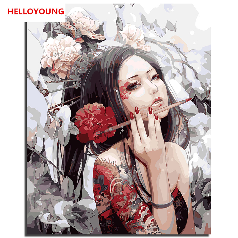 Pretty Girl DIY Digital Painting By Numbers Home Decor For Living Room Handpainted On Canvas Wall Art Frameless Pictures 40*50cm