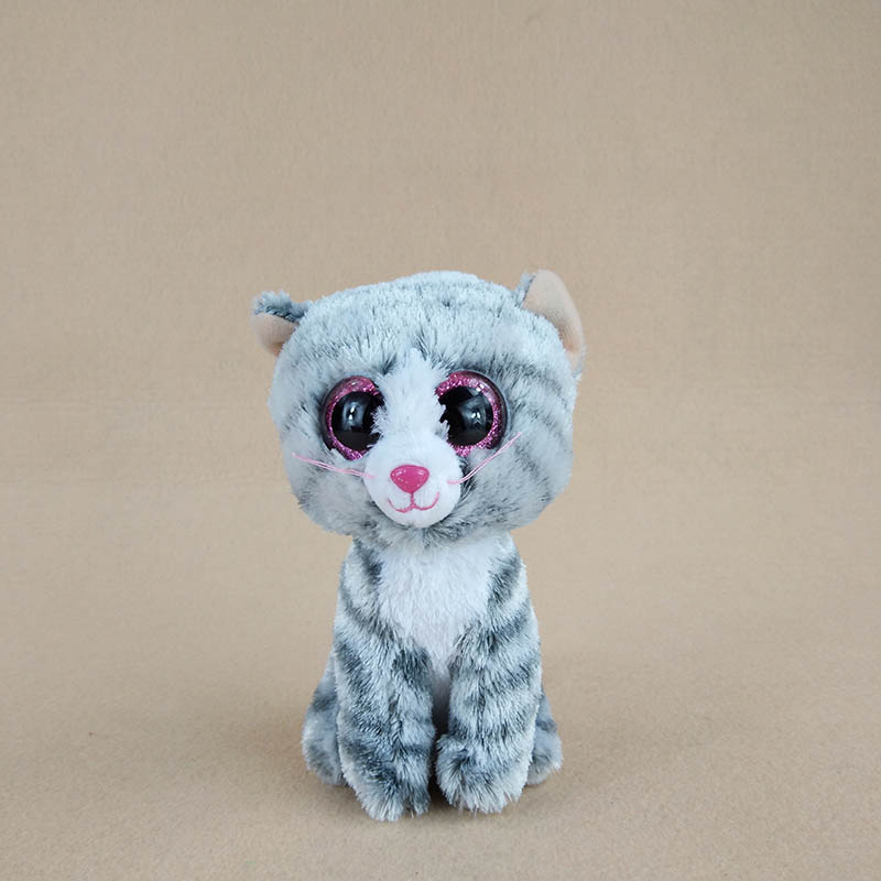 15cm Lovely Ty Beanie Boos Big Eyes Grey Cats Plush Soft Stuffed Animals Doll Toys For