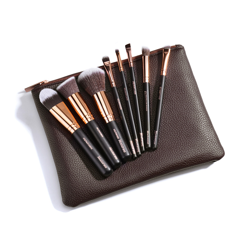 New Professional 8 PCS Makeup Brushes Set Tools Toiletry Kit Make Up Soft Brush Set Case Cosmetic Foundation Brush Leather Bag msq make up bag pink and portable cosmetic bags for professional makeup artist toiletry case new arrival