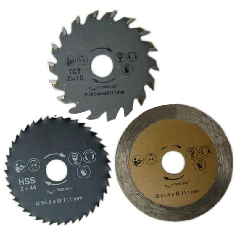 3pcs/lot Mini Circular Saw Blade Accessories For Multi Saws/TCT Wood Cutting Disk/HSS Metal Cutting Disk/Tile Cutting Disk