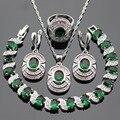 Eove 925 Collar Colgante de Plata de La Joyería Verde Blanco Pulseras Pendientes Anillos Para Las Mujeres