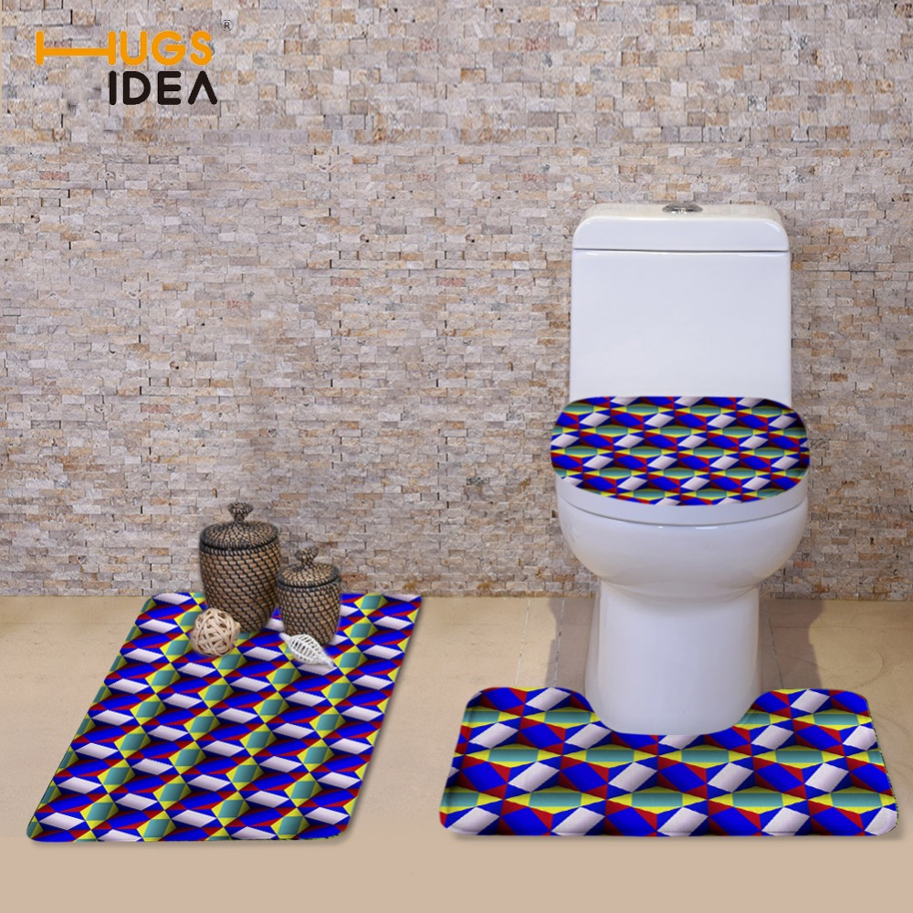 HUGSIDEA Bathroom Accessories Winter Soft Toilet Seat Cover Set 3D WC Bath Closestool Overcoat Carpet Travel Set Bath Floor Mats