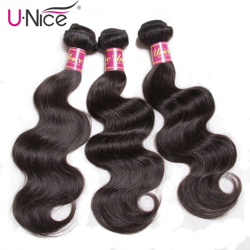 Unice Hair 3 Bundles Indian Body Wave Hair Extension Natural Color Remy Hair Bundles 8