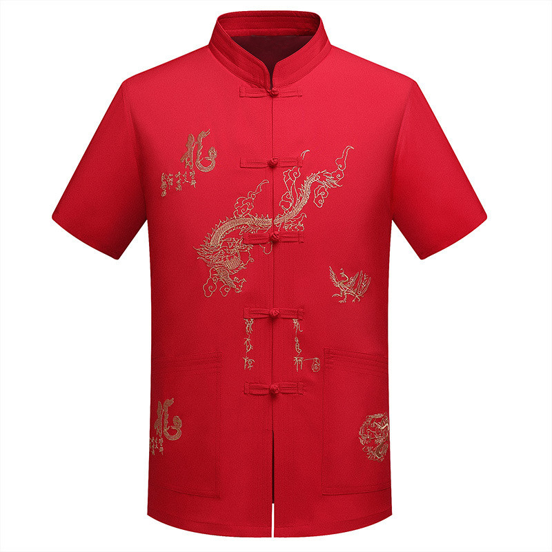 Casual Kung Fu Tops Embroidery Dragon Design Traditional Chinese Tang Suit Men Shirts Short Sleeve Mandarin Collar Male Summer