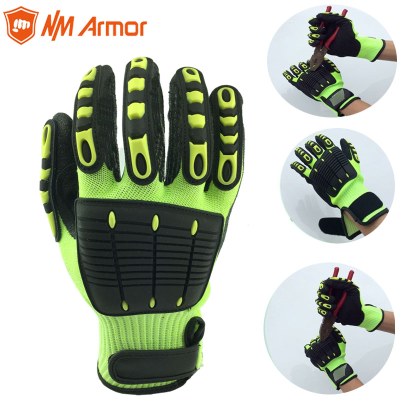 NMAromr 1 Pair Anti Vibration Working Gloves Vibration and Shock Gloves Anti Impact Mechanics WorkGloves,Cut Level 5 wholesale 20 x pc case fan silicone anti vibration shock absorption noise reduction screws dropshipping