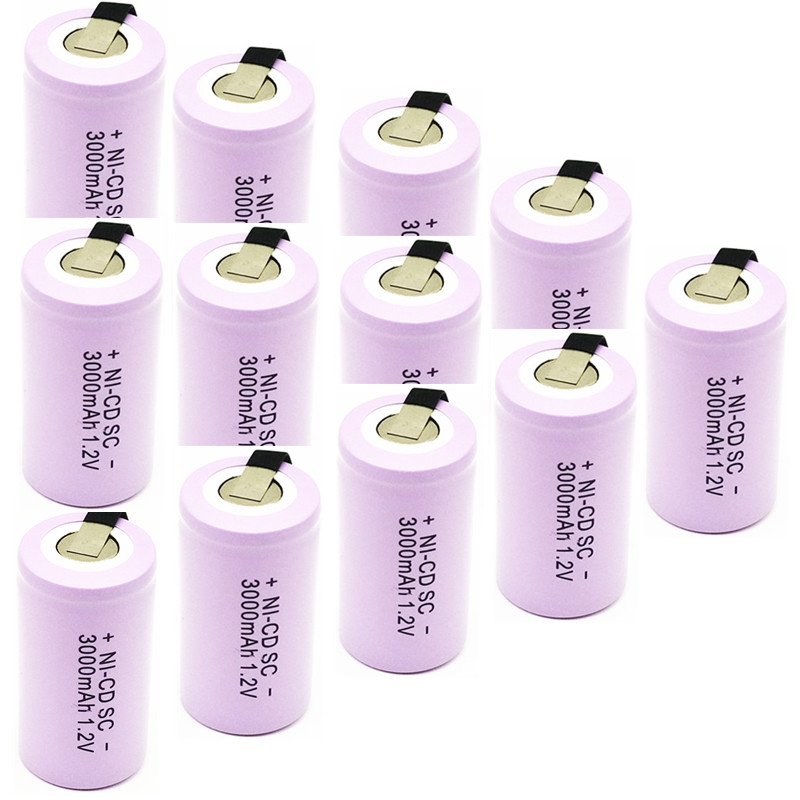 12 pièces batterie de haute qualité batterie rechargeable sous batterie SC batterie 1.2 v avec onglet 3000 mah pour outils électriques