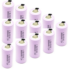 12pcs High quality battery rechargeable battery sub  battery SC battery  1.2 v with tab 3000 mah for electrical tools