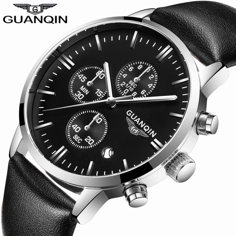 Mens Watches Top Brand Luxury GUANQIN Quartz Watch Chronograph Calendar Luminous Men Sport Leather Wristwatch relogio masculino mens watches top brand luxury jedir quartz watch chronograph luminous clock men military sport wristwatch relogio masculino