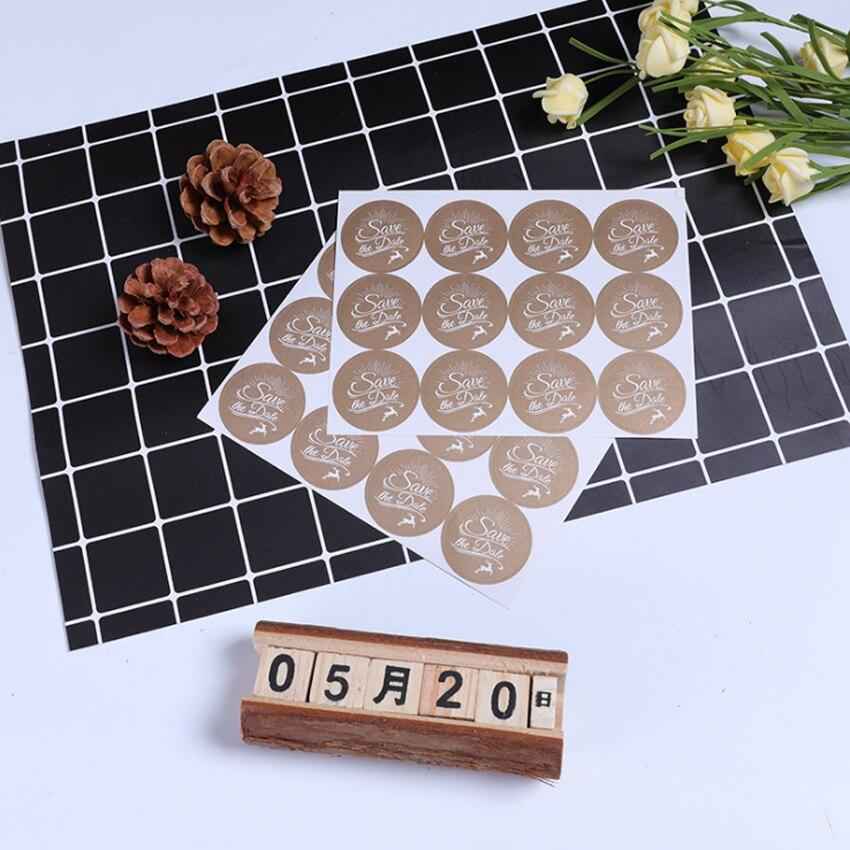 120pcs/lot Kawaii Save The Date Round Stickers Kraft Label Sticker DIY Hand Made For Gift Cake Baking Sealing Sticker