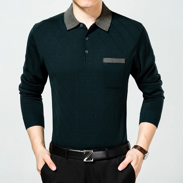 Comfortable breathable Men's clothing tops Long sleeve Solid polo homme High quality Wool blends knitted Men polos plus size