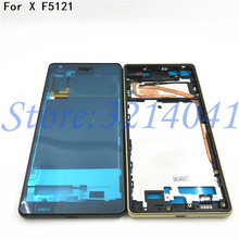 Original New Housing Middle Bezel Plate LCD Frame chassis with Button SIM Dust Cover For Sony Xperia X F5121 F5122 + Sticker