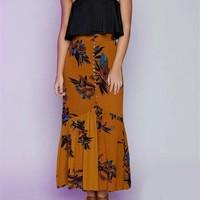 2017 Fashion Women Summer Vintage Long Single Breasted Skirt Floral Print Skirt Split Maxi Half S5