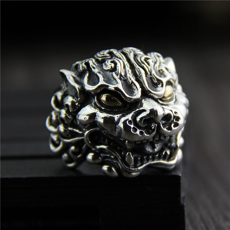 C&R 925 Sterling Silver Rings for men Vintage exaggerated Carved Lucky beast gold eyes Silver Ring Fine Jewelry Size 9-12