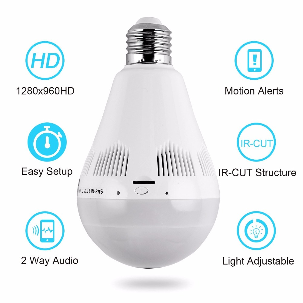 Wi Fi светодио дный IP светодиодное освещение лампы CCTV камера 360 градусов Panoram рыбий глаз 1.3MP ночное видение инфракрасный беспроводной