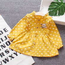 Princess dress baby Single-breasted button printing applique crew neck cute mini girl dresses with long sleeve for baby girl(China)