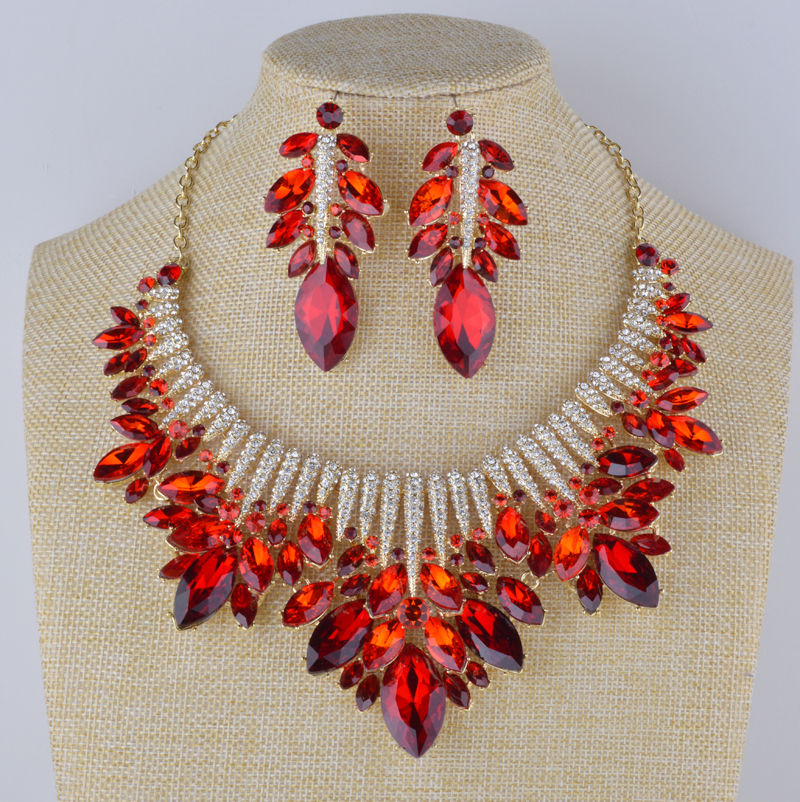 Bridal wedding Red color Jewelry sets Rhinestone necklace with earrings marquise round glass statement trendy jewelry for party trendy letter heart round rhinestone bracelet for women