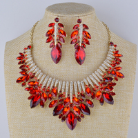 Bridal wedding Red color Jewelry sets Rhinestone necklace with earrings marquise round glass statement trendy jewelry for party
