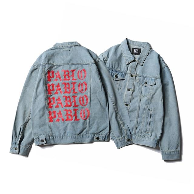 Letter embroidered trucker jacket for men black hip hop denim jacket