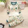 Patrón de dibujos animados pijamas niños pijama de algodón ropa infantil para niños de coches impresión del gato ropa de dormir pijamas infantil suave conjunto KD196