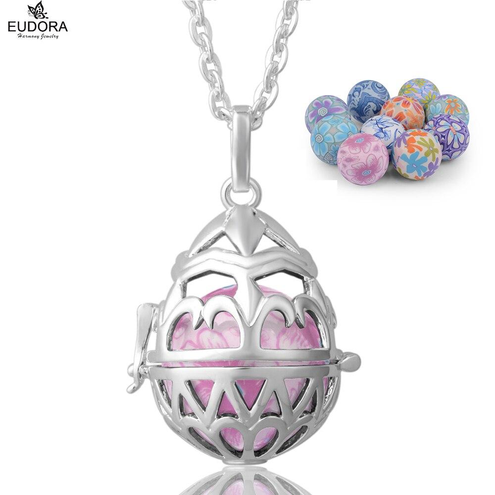 Charm Iris Flower Eudora Harmony Ball Pendant Necklace Jewelry
