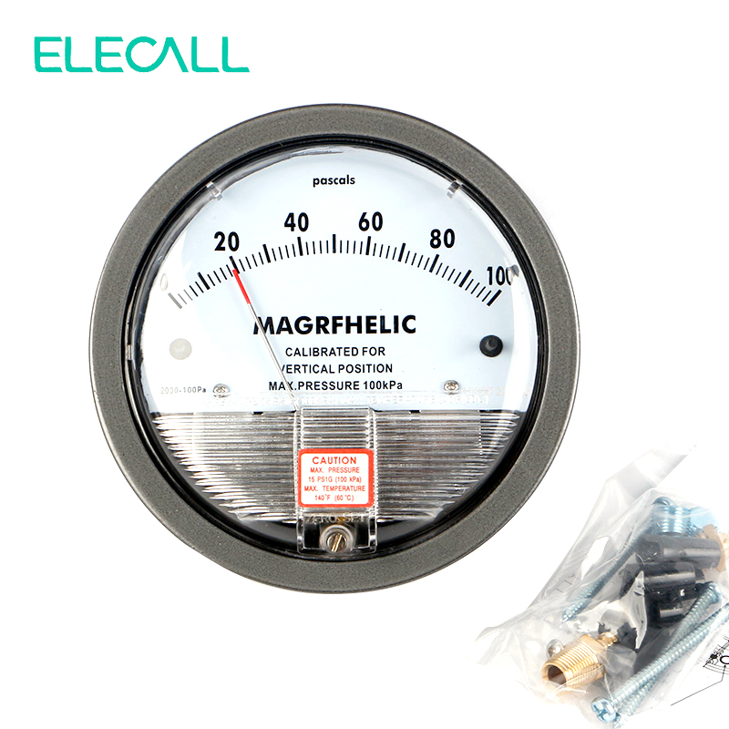 ELECALL TE2000 0-100PA Micro Differential Pressure Gauge High Precision 1/8 NPT Round Type Pointer Instrument Micromanometer te2000 500pa 500pa micro differential pressure gauge