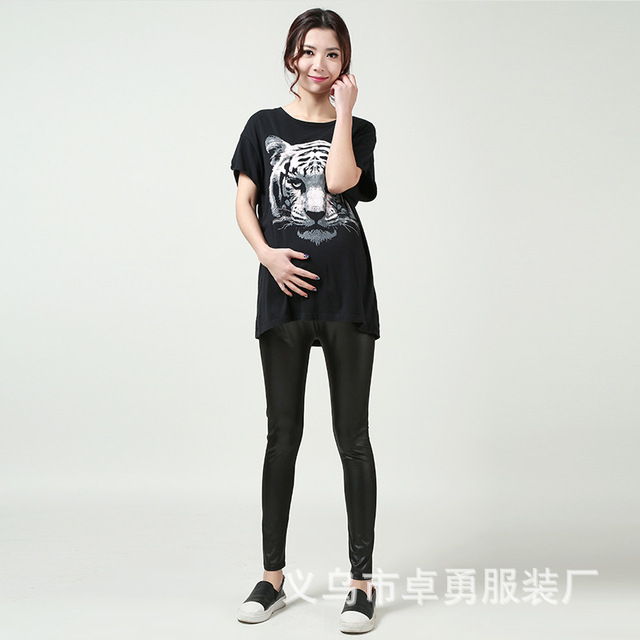 2016 New Fashion PU Leather Gravida Maternity Long Pants Care Belly Leggings Clothes For Pregnant Women Ropa Mujer Free Shipping
