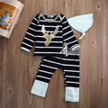 3pcs suit !!  Baby Boy Girl Kids Newborn Infant shirt +pant +Hat striped winter autumn Outfits Clothing Set