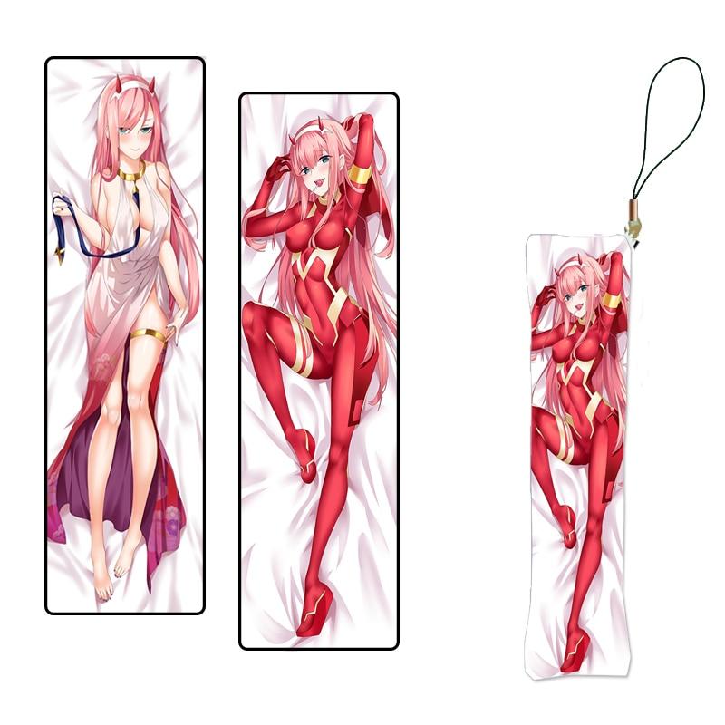 Anime Keychain Darling in the FranXX Mini Dakimakura Strap Zero Two Plush Pillow Pendants Custom Key Chain  Double Sided Gift