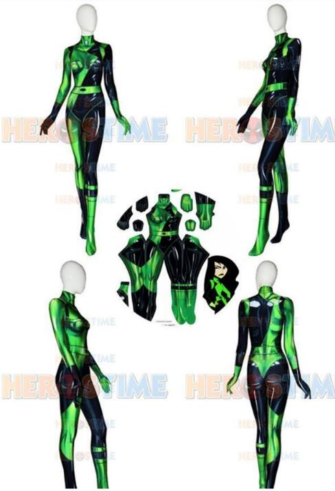3D Print Possible Shego Female Costume Super Villain Halloween Costumes for Woman Lycra Spandex Cosplay Shego Body Suit
