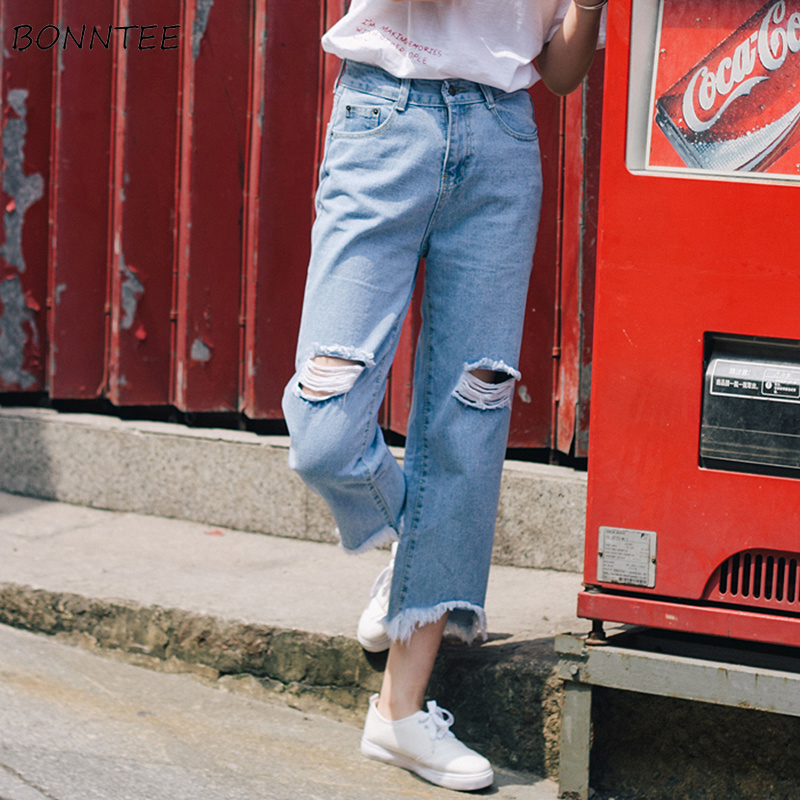 Jeans Women Tassel Ripped Denim Vintage High Waist Button Zipper Fly Korean Style Harajuku All-match Simple Solid Basic Jean