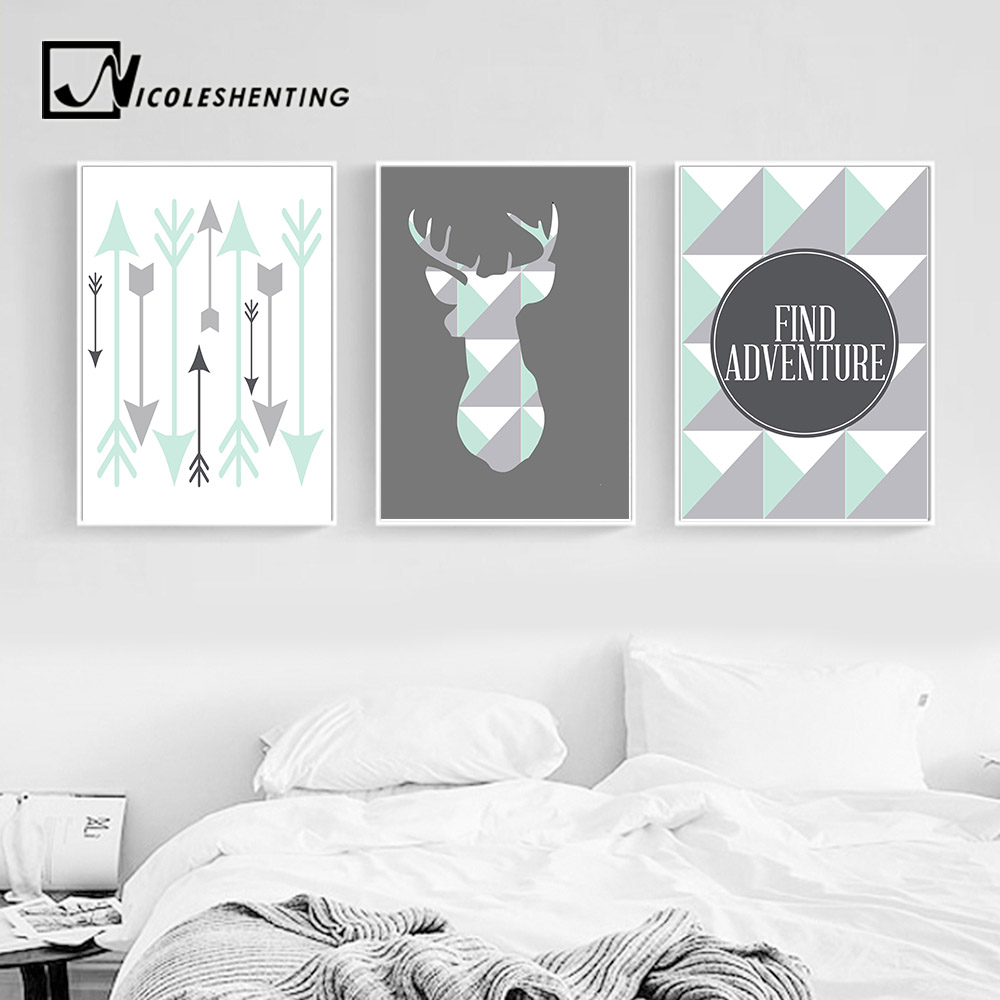 Geometric Purple Deer Wall Art Print Modern Poster Buck: Aliexpress.com : Buy Geometric Deer Arrow Wall Art Canvas