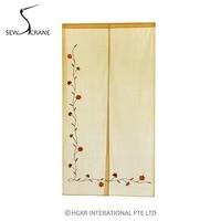 SewCrane Cotton Linen Fabric Curtain Embroidery Design L Shaped Flower Home Restaurant Door Curtain Japanese Noren