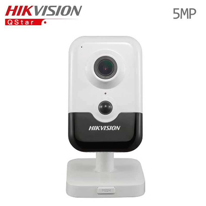 Hikvision H.265 Mini wireless IP Camera DS-2CD2455FWD-IW replace DS-2CD2442FWD-IW 5MP wifi IR Cube Camera built in microphone free shipping ds 2cd2442fwd iw english version 4mp ir cube network cctv security camera mini wifi ip camera poe 10m ir
