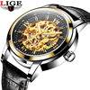 LIGE Hollow Skeleton Automatic Mechanical Mens Watch Man Classic Leather Business Men WristWatches Male Sport Clock